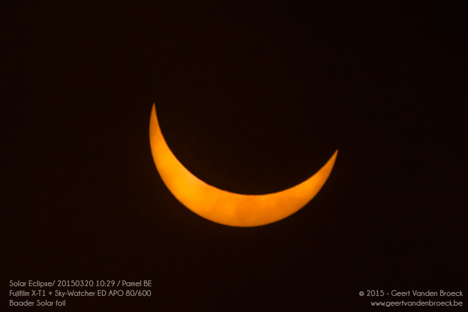 Solar Eclipse 2015: Astrophotography with the Xuji X-T1 and Sky-Watcher 80/600 refractor telescope